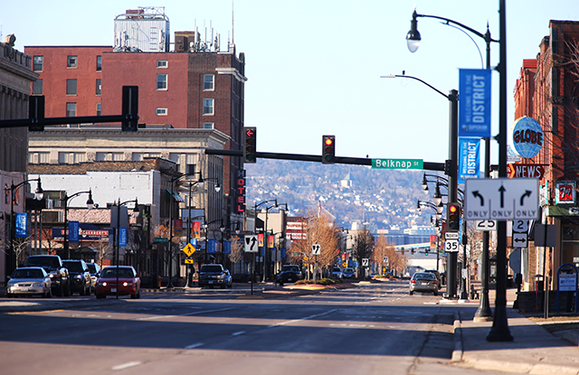Downtown Superior, Wisconsin, the city home to Midwest Energy Resources Company, the largest mover of coal in the Great Lakes basin.