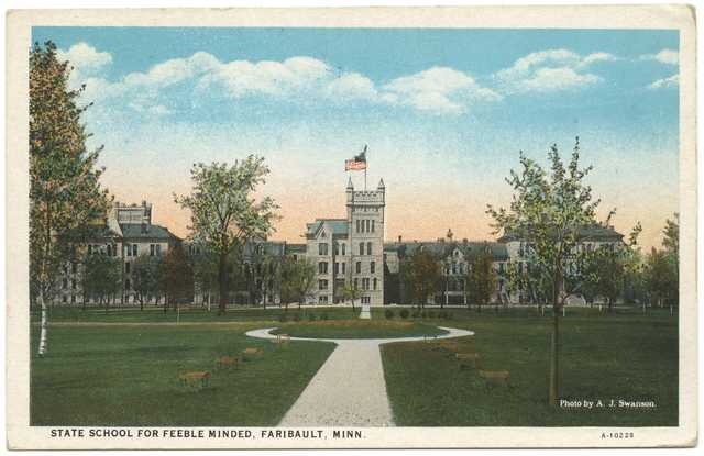 historical postcard depicting building