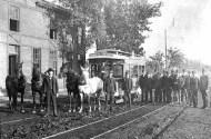 historical photo of horse drawn street car