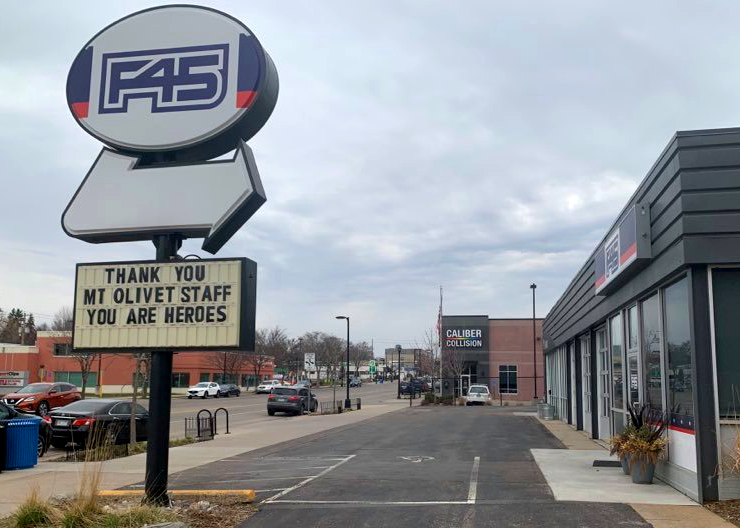 The F45 fitness club across the street from the Mount Olivet nursing home in South Minneapolis.