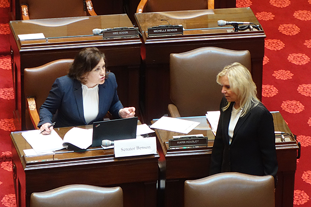 Republican Sens. Michelle Benson and Karen Housely shown during yesterday's session.