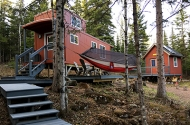 caboose-shaped rental cabin
