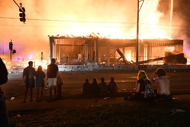photo of construction site burning