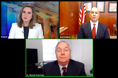 """Face the Nation"" host Margaret Brennan, Dr. Michael Osterholm and Fed President Neel Kashkari shown during Thursday's news conference."