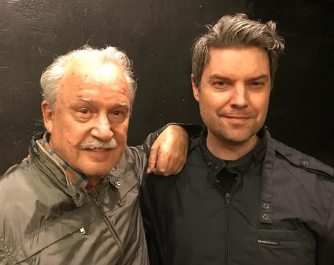 DJ Jake Rudh with synthesizer legend Giorgio Moroder, left, in 2018.