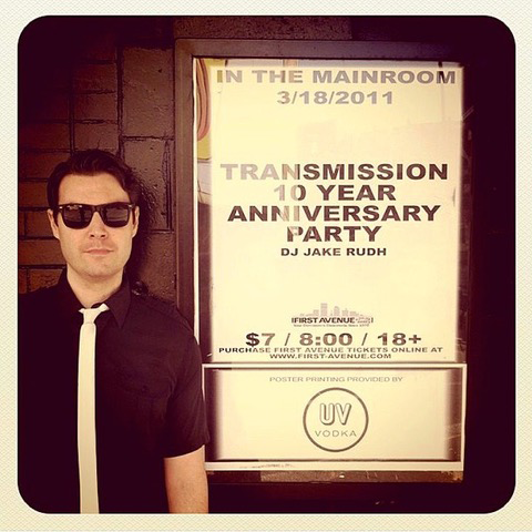 DJ Jake Rudh outside of First Avenue at Transmission's 10th Anniversary Party, where Blondie's Clem Burke was his guest DJ.