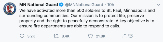 image of tweet by minnesota national guard describing deployment to minneapolis to keep peace