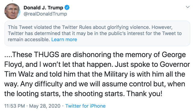 image of tweet by donald trump calling for shooting of looters
