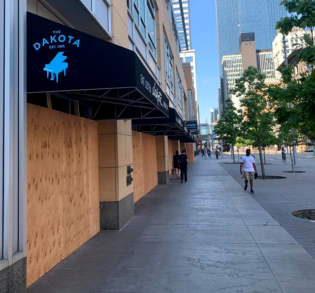 The Dakota on the Nicollet Mall in downtown Minneapolis on Monday, the first day bar and restaurant restrictions were lifted.