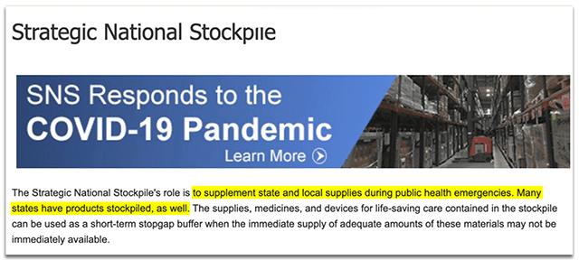 A screenshot of the Strategic National Stockpile's website after Kushner's comment.