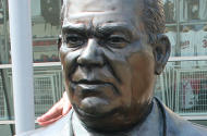 The statue of former Minnesota Twins owner Calvin Griffith.
