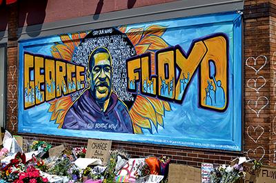 A mural honoring George Floyd