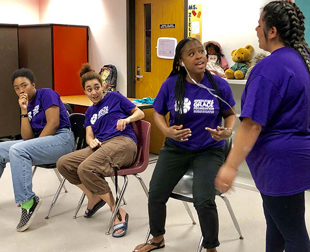 An image from an IGF Kids workshop. Mariana Morgan-Sawyer is second from left.