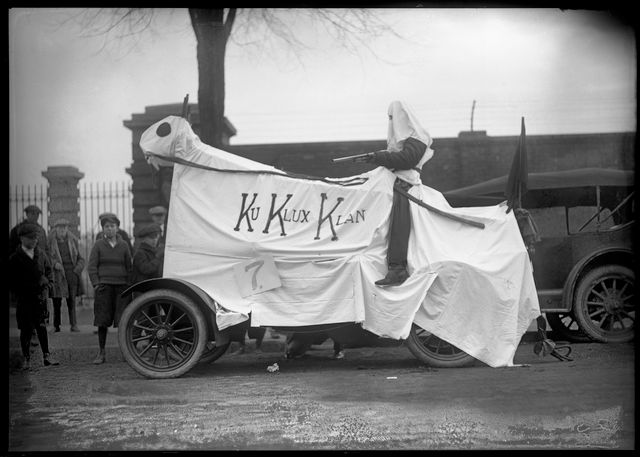 A Ku Klux Klan float participating in the 1923 University of Minnesota homecoming parade.
