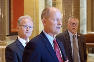 Senate Majority Leader Paul Gazelka speaking to the press last week as state Sen. Warren Limmer and state Sen. Bill Ingebrigtsen look on.