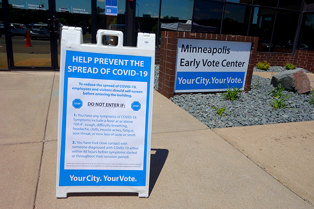 Entrance to the Minneapolis elections center off East Hennepin Avenue.