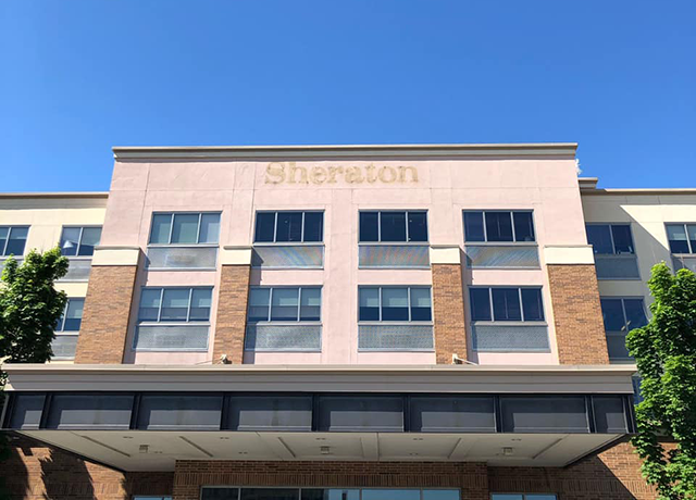 The former Sheraton Hotel, now owned by Jay Patel, providing shelter for hundreds of people during the crisis.