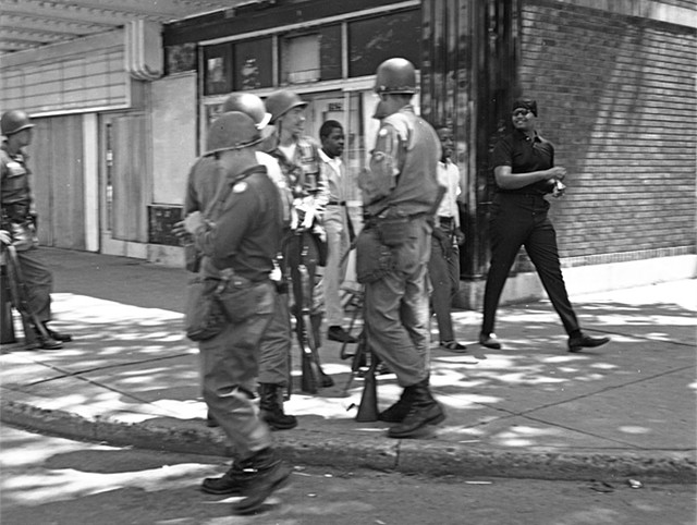 Riot police along Plymouth Avenue during race riots, north Minneapolis, in June of 1967.