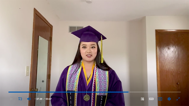 "Instead of delivering her farewell address in front of a large crowd, Vang had to get up early one morning — before the rest of the house woke up — to pre-record her speech. In it, she shared some advice about being flexible that she'd picked up during her high school years: ""Be comfortable with being uncomfortable."""