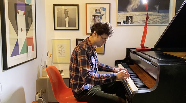 Timo Andres at home, not at Carnegie Hall.