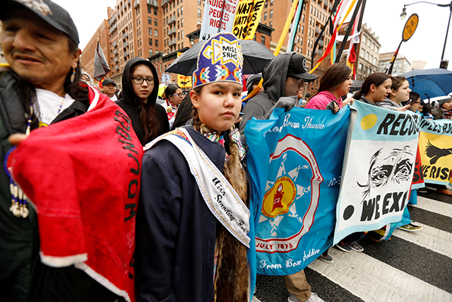 Members of the Standing Rock Sioux Nation and Indigenous leaders