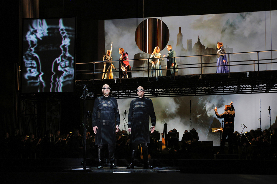 """A scene from a 2016 performance of """"Das Rheingold."""""""