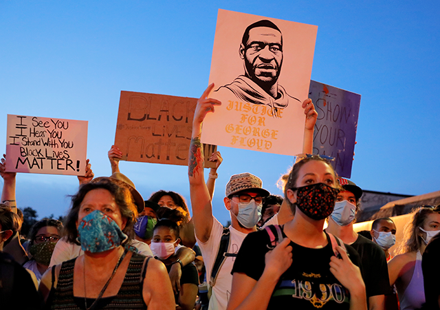 In an image from June 1, protesters gathered in Minneapolis following the death in police custody of George Floyd.