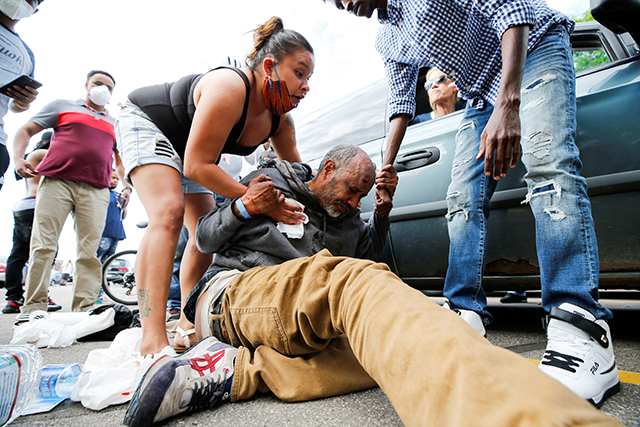 A man is injured after being hit in the head by an object at a protest near the Minneapolis Police Third Precinct on May 27.