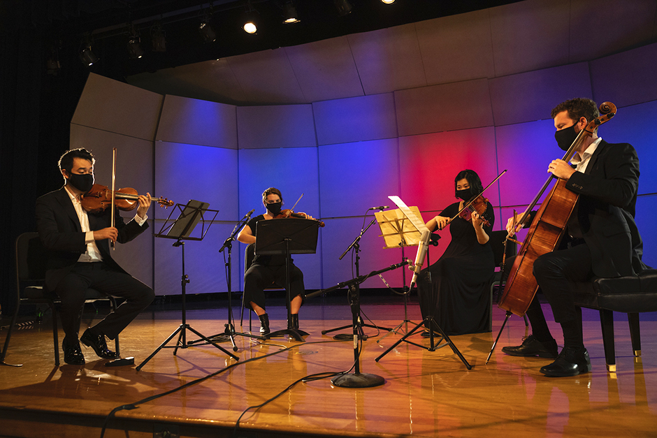 A string quartet records a performance on July 20 for the Lakes Area Music Festival.