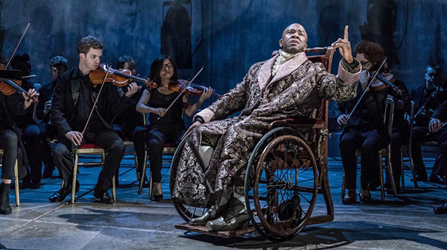 "Lucian Msamati as Salieri in ""Amadeus."""