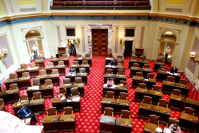 The only official action was a Senate debate on a resolution to remove Gov. Tim Walz's emergency declaration.