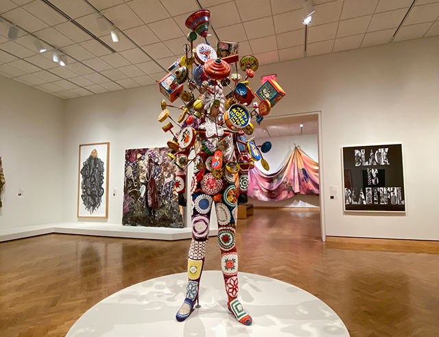"Nick Cave's ""Soundsuit,"" on view in Gallery 374."