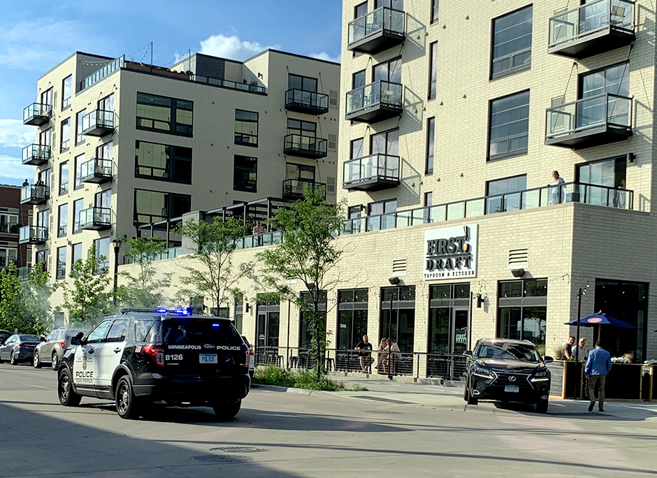 The aftermath of a June 28, 2019, crash in North Loop that involved a Minneapolis Police Department squad car and an SUV. The squad car ran a stop sign and t-boned the car driven by a Minnetonka man.