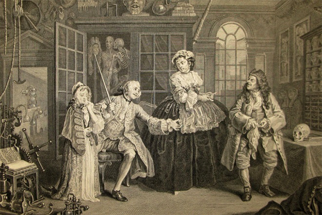 Marriage a la Mode Plate 3 (The Scene with the Quack) depicts Viscount Squanderfield and his mistress suffering from the effects of syphilis.