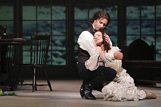 """Lee Poulis as Heathcliff and Sara Jakubiak as Catherine Earnshaw in a 2011 performance of """"Wuthering Heights."""""""