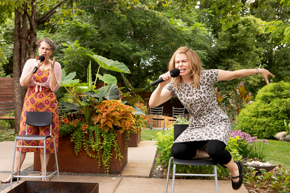 """Laura Stearns and Kim Kivens in """"12 Questions for a Jewish Mother."""""""