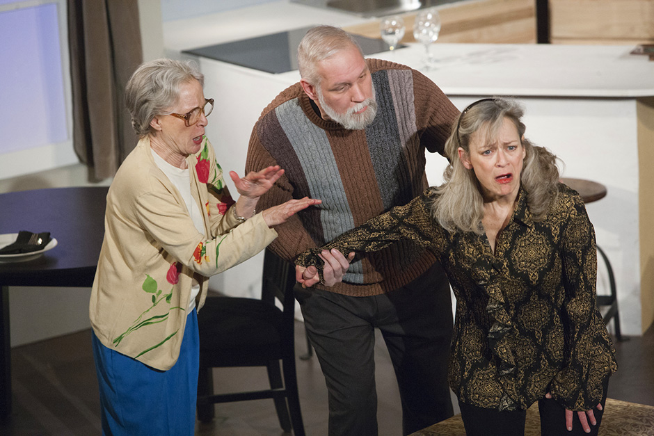 """Linda Kelsey, David Coral, Sally Wingert in the 2016 production of """"The Tale of the Allergist's Wife."""""""