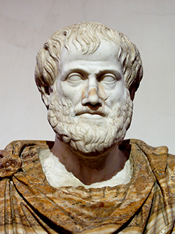 Roman copy in marble of a Greek bronze bust of Aristotle by Lysippos, c. 330 BC, with modern alabaster mantle
