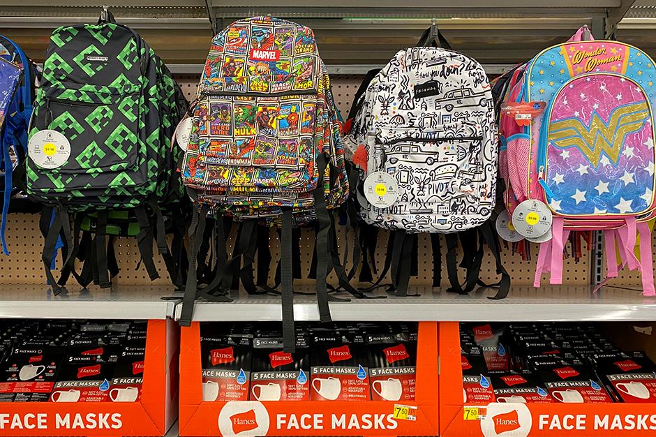 Backpacks and face masks: a Walmart back-to-school display in Encinitas, California.