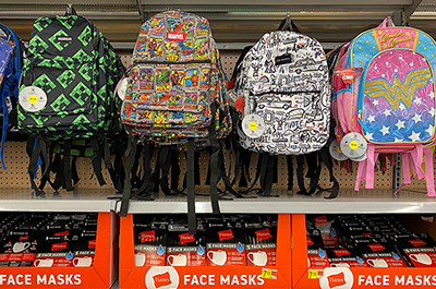 Backpacks and face masks: a Walmart back-to-school display in Encinitas, California.