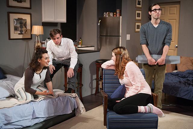 "Miriam Schwartz, Michael Torsch, Adelin Phelps, Michael Hanna in the 2016 production of ""Bad Jews."""