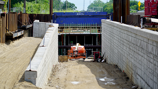 The Blake Road pedestrian tunnel being built in Hopkins.