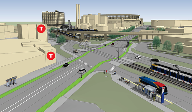 How the Bottineau line would have linked up with the existing Blue Line at Target Center Station.