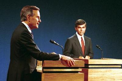Vice President Bush debates with Michael Dukakis