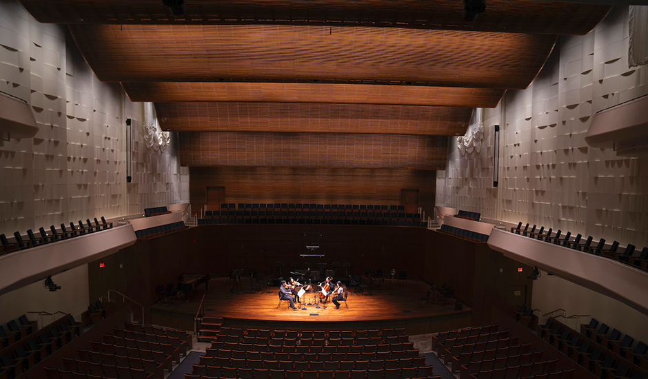 The Concert Hall, which was built to the orchestra's specifications, is equipped with state-of-the-art HD video and digital recording equipment.