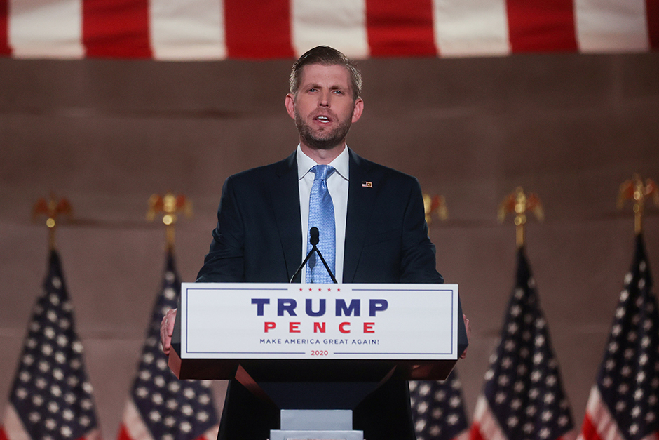 Eric Trump delivering a pre-recorded speech to the largely virtual Republican National Convention broadcast from the Mellon Auditorium in Washington, D.C., on Tuesday.