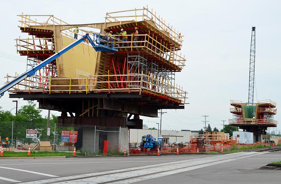 Southwest Light Rail construction on Excelsior Boulevard in Hopkins.