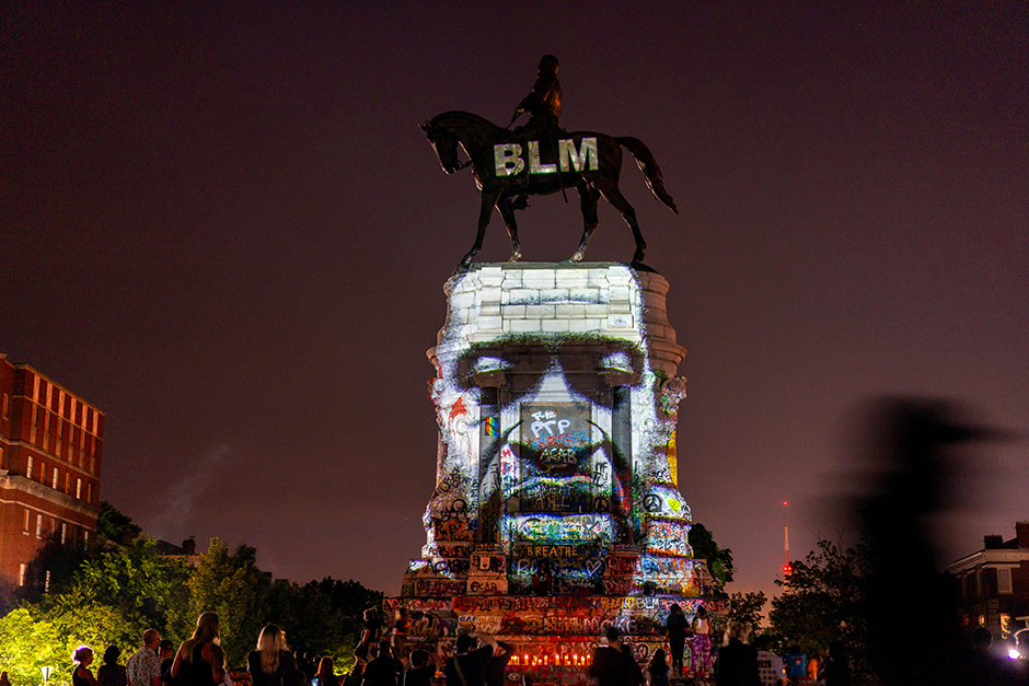 An image of George Floyd was projected on the statue of Confederate General Robert E. Lee in Richmond, Virginia, on June 20.