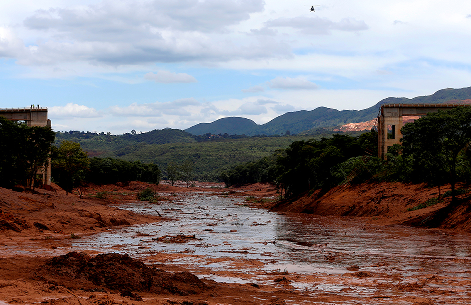 A view of the aftermath from a failed iron ore tailings dam owned by Brazilian miner Vale SA that burst, in Brumadinho, Brazil.