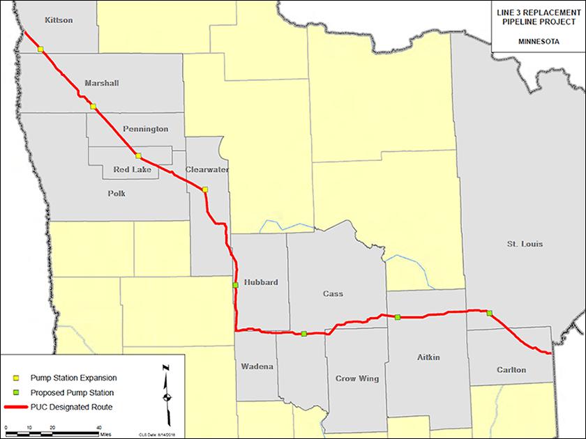 Enbridge Line 3, Public Utilities Commission designated route